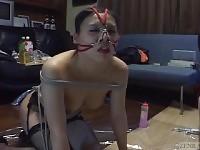 Sottotitolati misto giapponese BDSM al guinzaglio con giochi anali