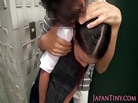 Petite asian schoolgirl titfucked in bathroom
