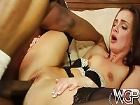 Lily squirting over his big black cock