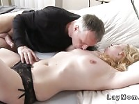 Blonde mom in lingerie got banged