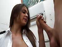 Adorable sexy stewardess pounded hard from behind in the toilet room