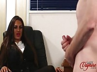 Kinky brunette boss makes guy jerk off for her
