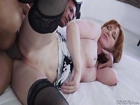Freya Fantasia is wearing stockings and getting it hard