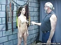 Curly haired slave will be tortured by her master