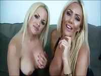 Humilliating teasing from two blonde bombshells
