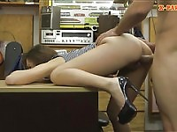 Beautiful brunette babe screwed by pawn guy at the pawnshop