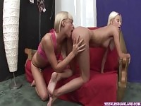 Young blonde lesbians get steamy together