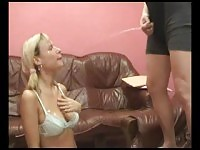 Blonde whore gets peed all over her face