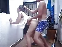 Hot standing up fuck for two youngsters