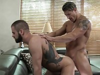 Wild stud works his hot lips and his fiery ass on his boyfriend's dick