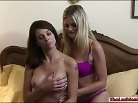 Scarlet Red and Eva Long steamy lesbian sex on the bed