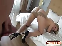 Blonde in pantyhose with a hot ass gets fucked