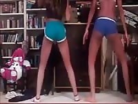Two amateur teens in tight shorts working the twerking