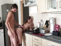 Anal fuck in the kitchen always feel great