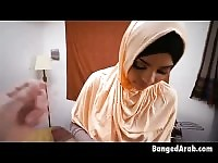Arab Beauty Down On Her Knees Sucking On Dat White Shaft