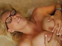 Aged female with hot huge boobs taking part in hard fuck sex video in office