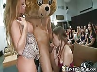 Bear mascot and army man get sucked off by lonely bachelorettes