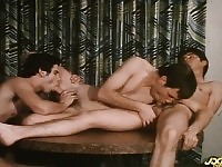 A couple of dick-loving guys get into a threesome with a thiknows how to hunk