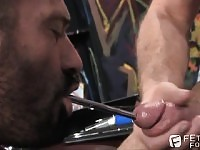 Horny guy loves to sound a prick while licking it like crazy