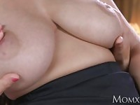 MOM Big natural tits babe face sitting on old