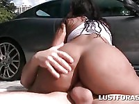 Car wash big ass slut riding cock on the ground