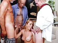 Blonde Raylin Ann fucks 3 hard aged cocks