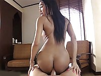 Amazing Thai ladyboy babe devours a huge white cock