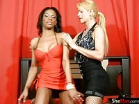 Two TS girlfriends suck and fuck each other in interracial