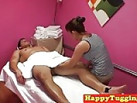 Asian masseuse wanking massage client