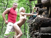 Petite Euro blonde fucks stranger in forest