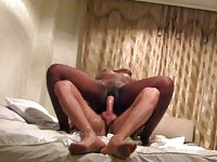 African Ebony whore is fucked hard and filmed by her boyfriend in a hotel