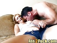Young blonde roughly fucked in the ass by two horny stallions