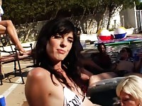 Hot orgy with tranny and hot ass babes in the pool