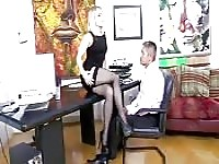 Blonde secretary gets a raise out of his cock