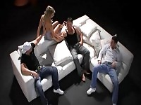 Hot blonde gets screwed in a gangbang