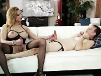 Dominant shemale Jenna Tales sucked by and ass fucks a sissy