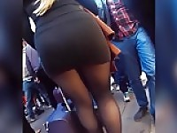 pantyhose blonde in public