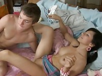 Angelic teen acquires a wild fur pie loving action from stud