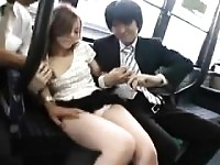 Asian chick riding a bus gets accosted and has to let them