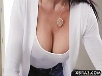Stepmom with big tits fucks stepson while dad is downstairs.