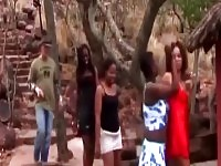 Drunk African real girlfriends in amateur sex party swapping partners.