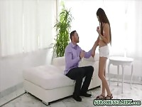 Stepdad cant resist his long legged teen stepdaughter