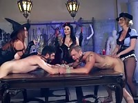 Female domination porn video featuring Veruca James, Bella Rossi and Cherry Torn.