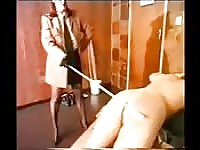 Submissive guy withstands a rough caning