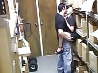 Security cam catches fucking in the stock room.