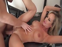 Sugar golden-haired Brandi Love got a spermshot on her face.