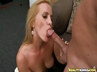 Face sperm shot porn video featuring Katrina Kelley and Hunter.