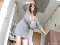 Seductive busty mature female in passionate masturbation porn video.