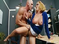 Marvelous yellow-haired Krissy Lynn is giving a blowjob