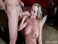 Enticing breasty wife Brandi Love having a play with female domination.